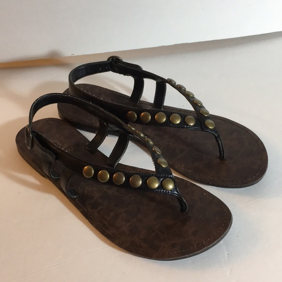 Decree Black and Brown studded thong sandals